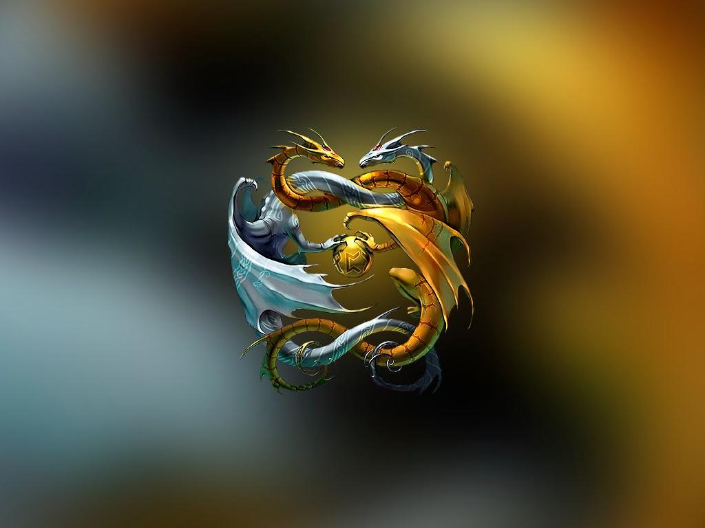 Cute Horse Wallpaper Cartoon Yin Yang 3d Dragon Wallpaper Hd Wallpaper
