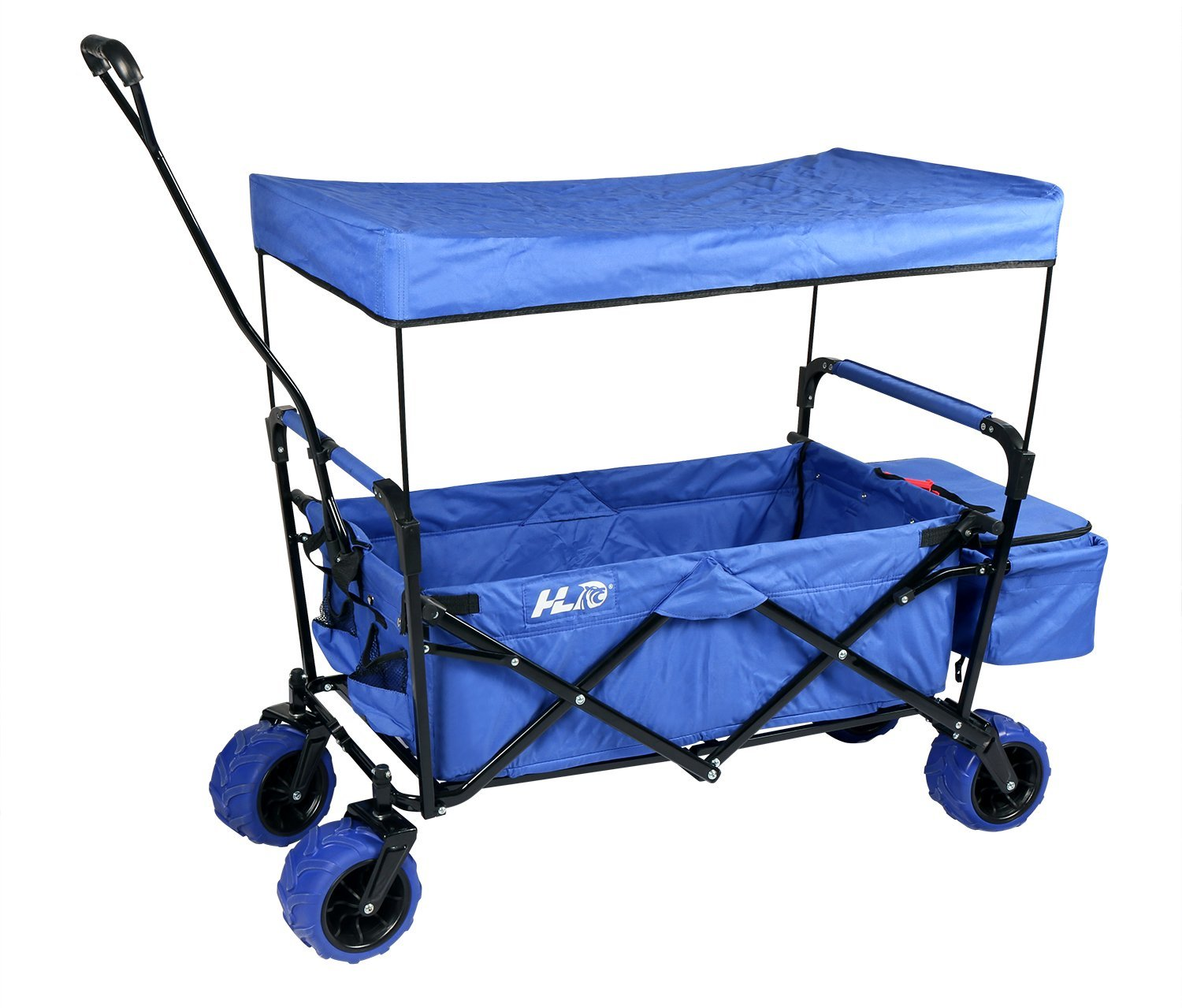 Foldable Beach Wagon With Canopy Large Wheels Food Cooler