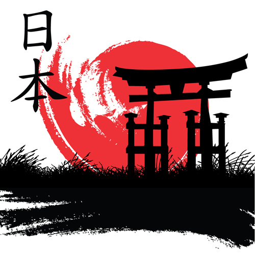 MY WORLD'S: Japan style elements vector graphics 01