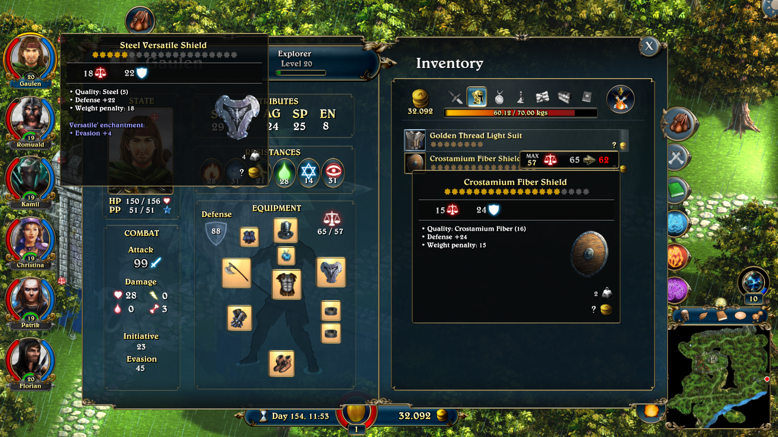 Inventory screen from Lords of Xulima