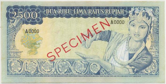 uang 2500 rupiah soekarno 1965 belakang