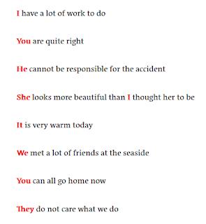 الضمائر الانجليزية في جمل