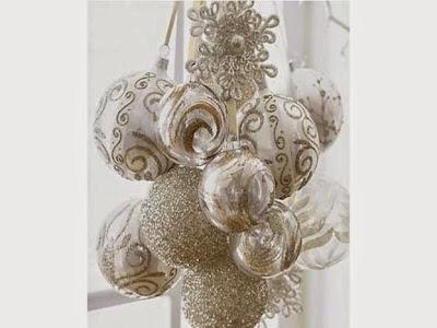 bouquet di palline di natale pendente, trasparenti con pizi argento