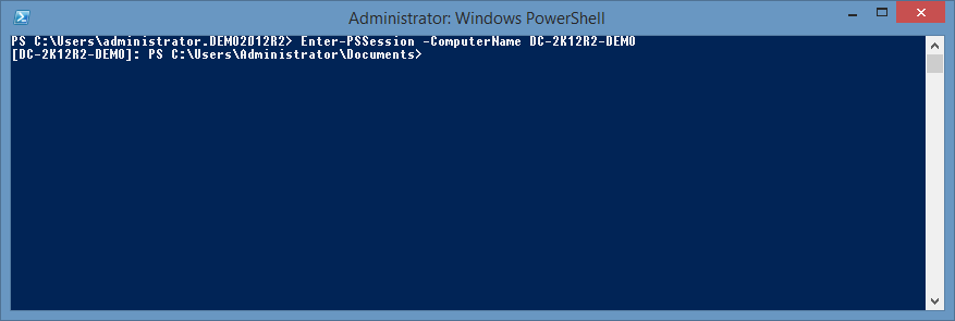 screenshot showing the enter-pssession command being executed successfully