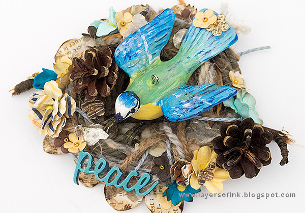 Layers of ink - Bird in a Nest by Anna-Karin Evaldsson with Prima flowers and Finch