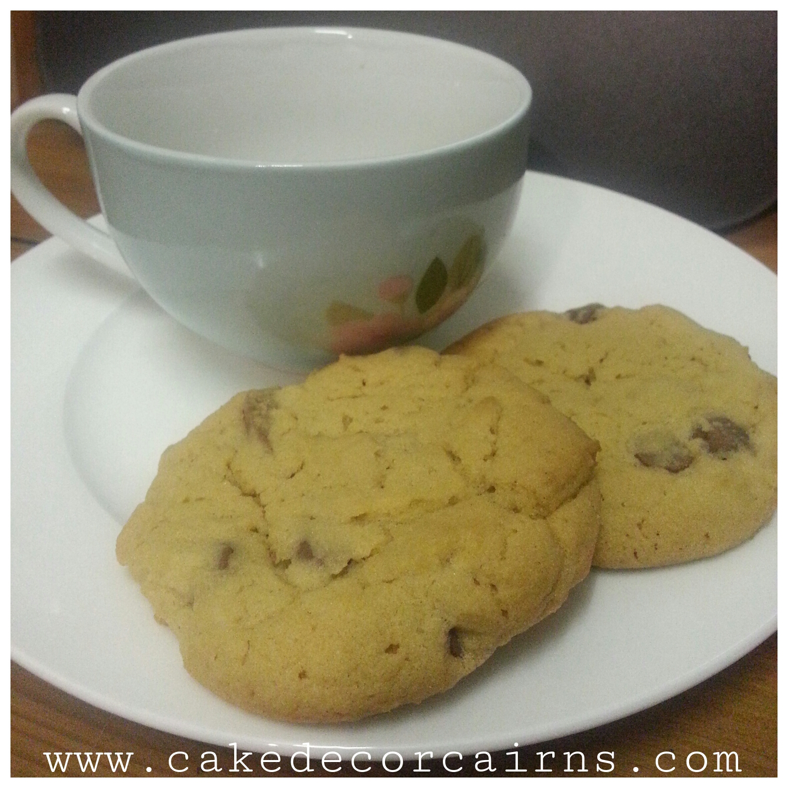 Easy Yummy Chocolate Chip Cookies with tea cup. Afternoon tea setting,