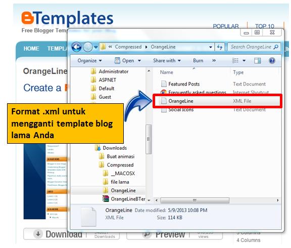 File xml pengganti template lama blog Anda