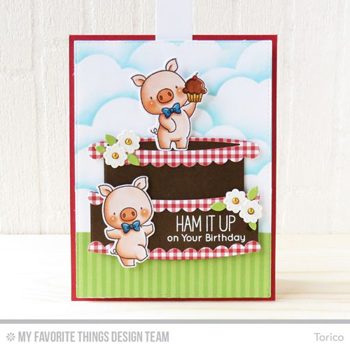 Handmade card from Torico featuring Birdie Brown Hog Heaven stamp set and Die-namics, Stitched Cloud Edges, Laina Lamb Design Hip Clips, Blueprints 13, and Interactive Birthday Cake Die-namics #mftstamps