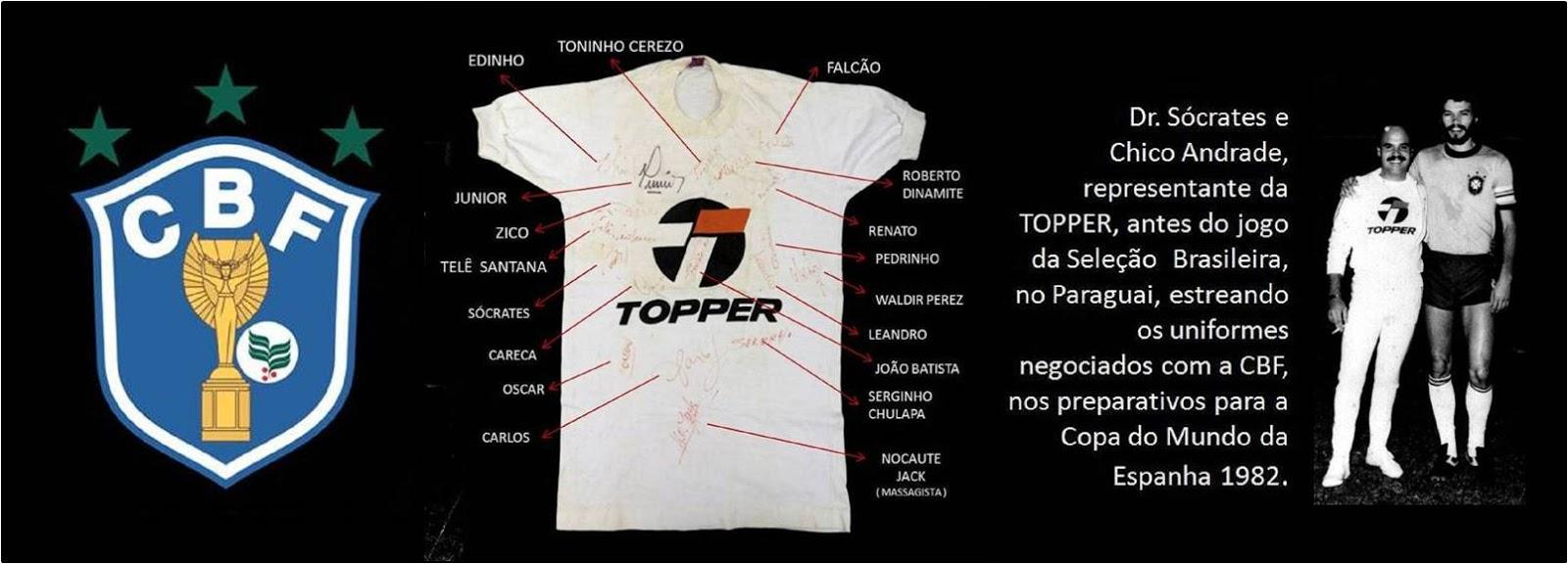Camisa TOPPER Autografada Pela SELEÇÃO BRASILEIRA de 1982 - Antiguidades  CASA DO VELHO eec9a4f099589
