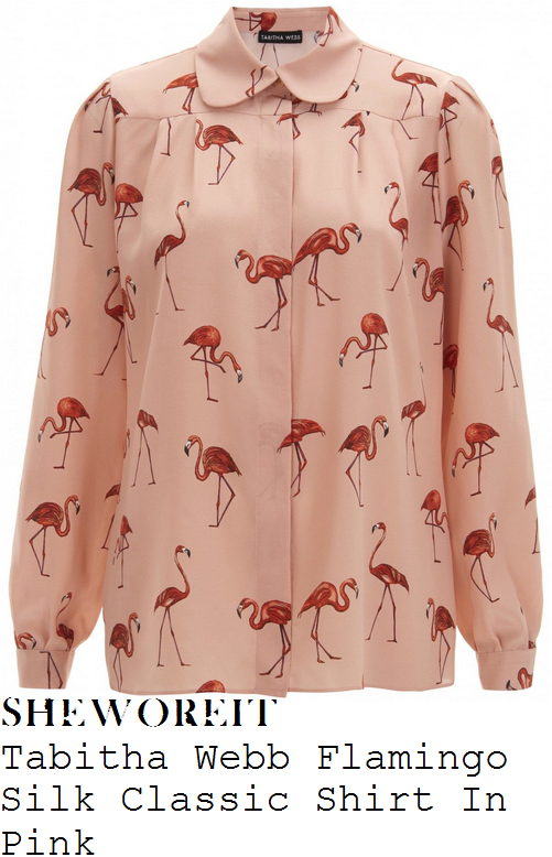 fearne-cotton-tabitha-webb-peach-pink-and-coral-flamingo-print-long-sleeve-peter-pan-collar-silk-shirt