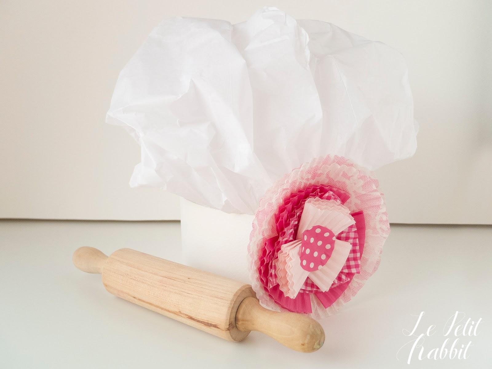 Per realizzare il cappello da Chef vi occorrono  – un foglio di carta velina  bianca 70×100 cm da dividere in due fogli – un cartoncino bianco 70×100 cm c492eaeabba6