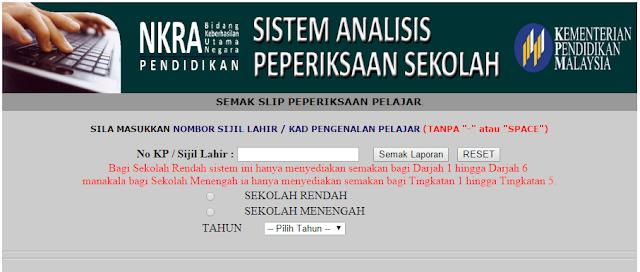 SAPS-Sistem Analisis Peperiksaan Sekolah