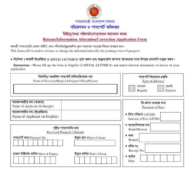 Passport Correction/Reissue/Information Alternation Form Download