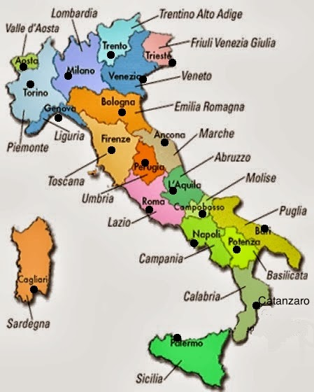 Diario di scuola regioni e capoluoghi d 39 italia for Nomi delle donne della politica italiana