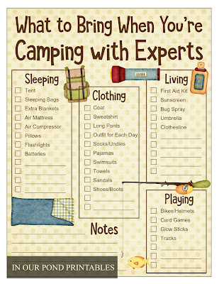 What to Bring When You're Camping with Experts // Free Printable Packing List // In Our Pond