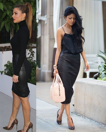 high waisted black leather skirt
