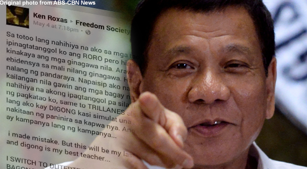 Liberal party loyalist shifts to Duterte: I made a mistake, but this will be last mistake