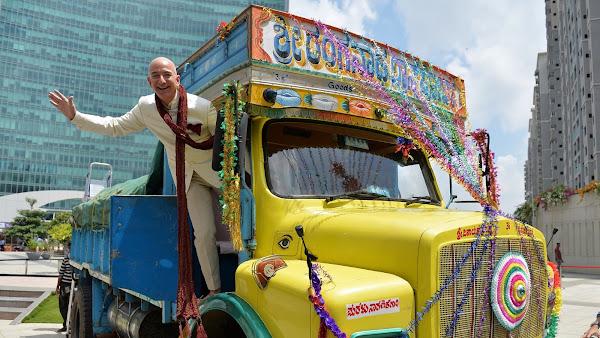 Amazon CEO Jeff Bezos in Bangalore, India
