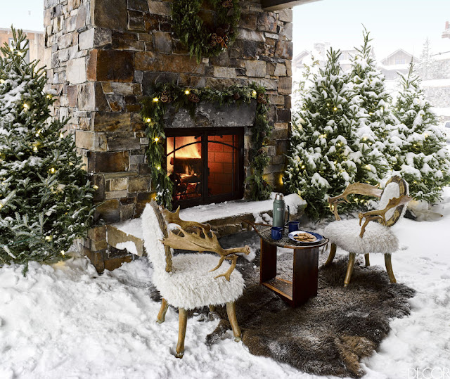 image result for outdoor fireplace ski house in Montana mountains designed by Ken Fulk Halfway House