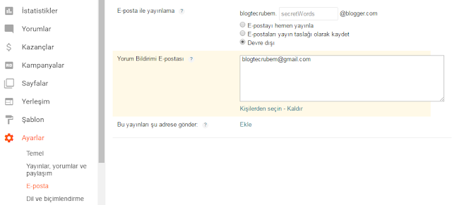 Blogger'da e-posta ile yayın paylaşma