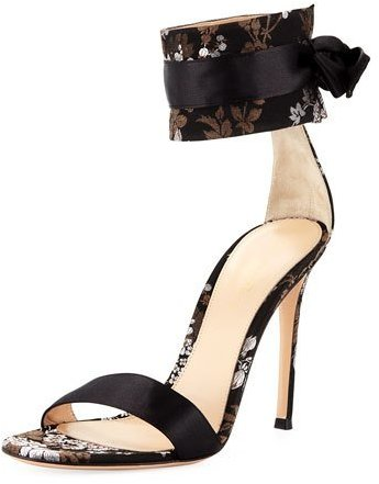 Gianvito Rossi Floral Print Satin 105MM Sandal www.toyastalesshoeguide.blogspot.com #toyastalesshoeguide #ToyasTales #GianvitoRossi #SatinSandals #FloralPrint #stiletto #heels