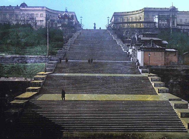 Potemkin stairs, 1920s Russia, a tinted photograph of the giant stairs