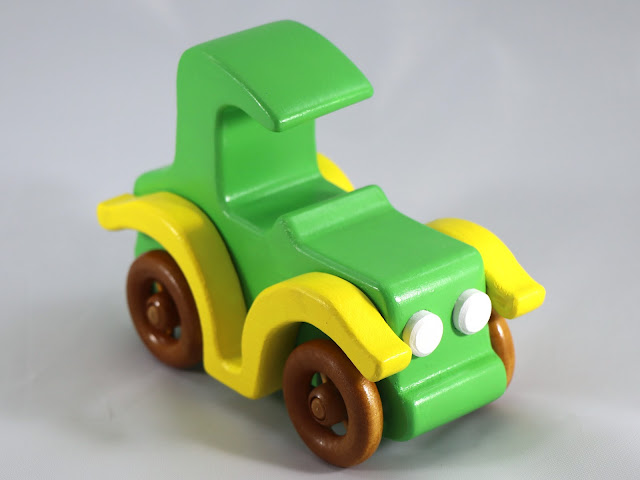 Wooden Toy Car - Bad Bob Motors - Amber Shellac - Green - Yellow