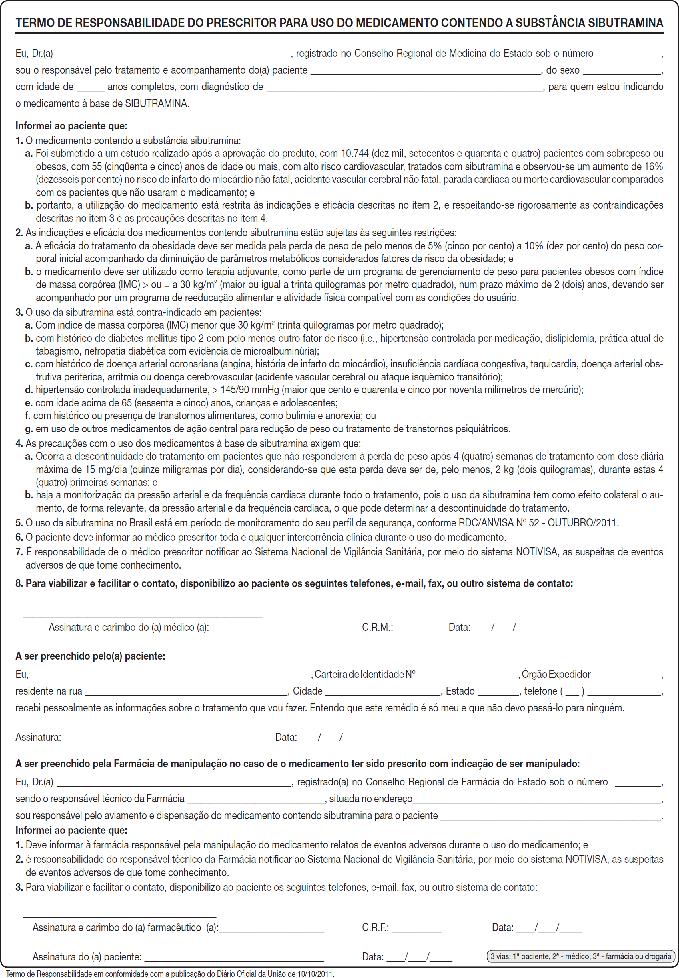 Termo de Responsabilidade do Prescritor para uso do Medicamento contendo a substância Sibutramina