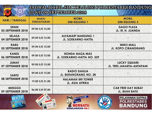 Jadwal SIM Keliling Polrestabes Bandung Bulan September 2018