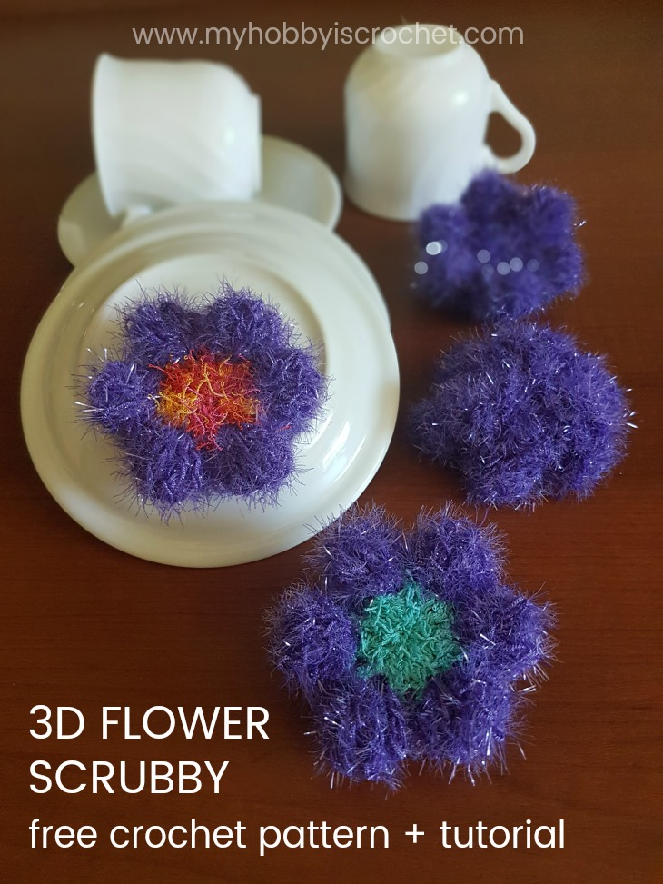 3D Flower Scubby - Free Crochet Pattern + Tutorial