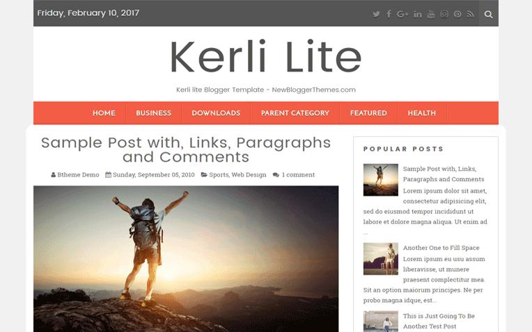 Kerli Lite Free Blogger Template