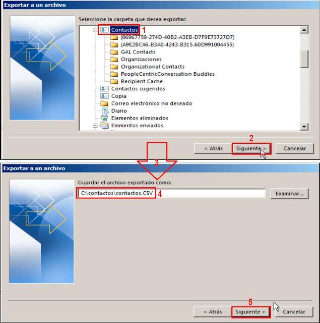 Seleccionaremos la carpeta de contactos de Microsoft Outlook para que sea exportada a CSV y, a continuación, bautizaremos el nuevo archivo de valores separados por comas.