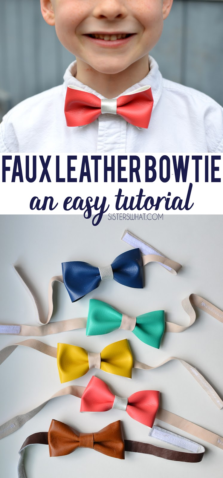 faux leather and vinyl diy bow tie for little boys sunday outfit