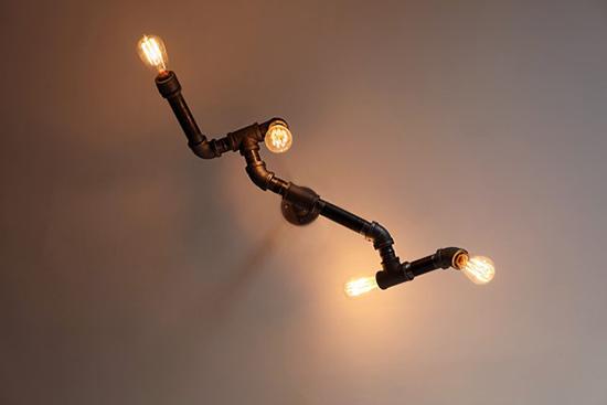 aneka lampu dinding menggunakan pipa besi bekas