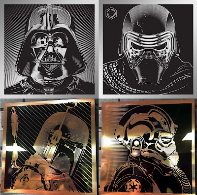Star Wars Day 2016 Laser Engraved Prints by Joshua Budich & Spoke Art Gallery - Darth Vader, Kylo Ren, Boba Fett & TIE Fighter Pilot