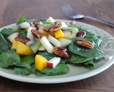 Spinach Salad with Fruity Vinaigrette, Fresh Fruit & Maple-Glazed Pecans