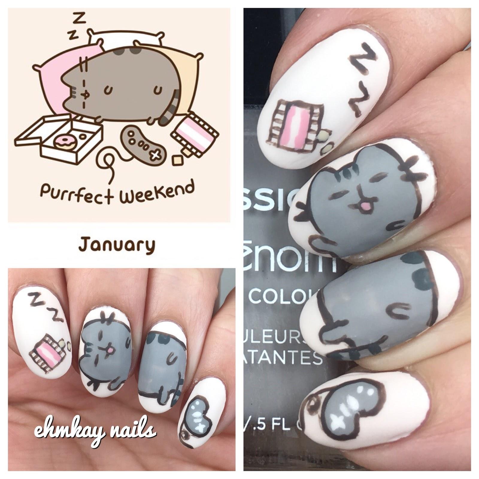 pusheen 2018 calendar series lazy pusheen nail art