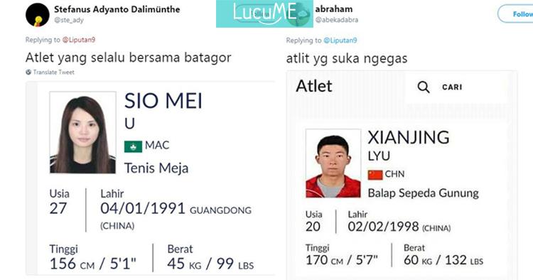 Plesetan Nama Atlet Asian Games  Yang Kocaknya Receh Parah Lucu