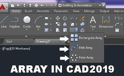 Array Command in Autocad, Auto-CAD 2019