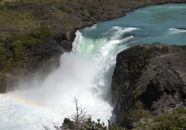 Rainbow over Salto Grande waterfall in Torres del Paine National Park on a day trip from Puerto Natales Chile
