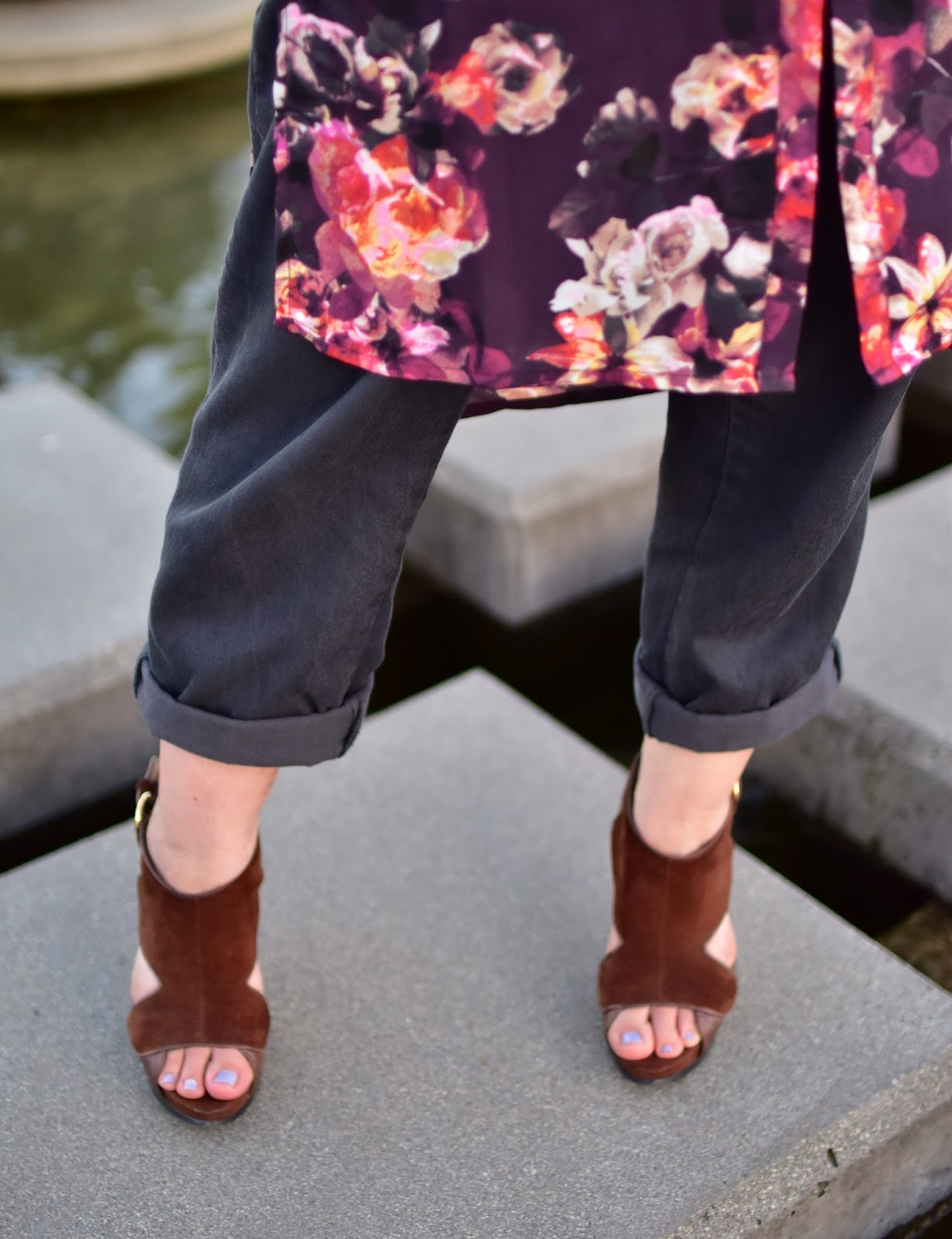 floral tunic-style blouse, boyfriend trousers, open-toe stiletto shoes