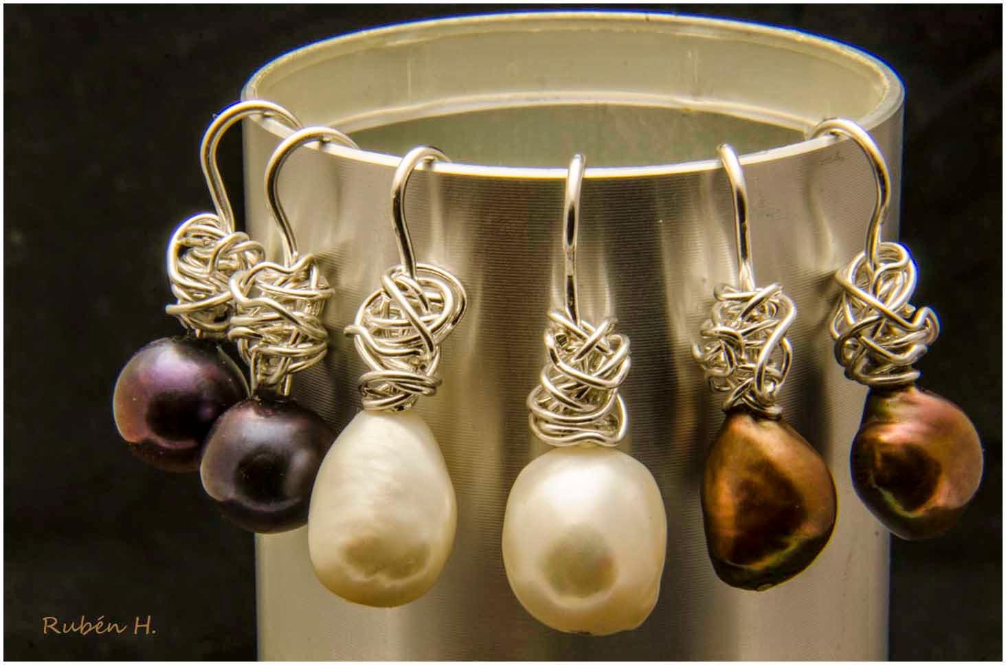 Pendientes de plata y perlas personalizados artesanales