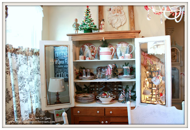 Farmhouse Christmas Kitchen-Vintage Pie Safe-Christmas Vignettes-From My Front Porch To Yours