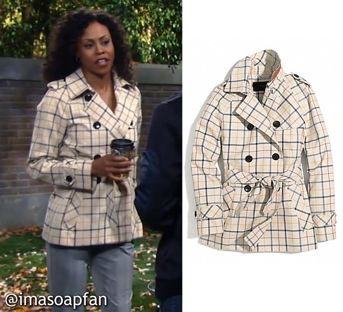 General Hospital, GH, Jordan Ashford, Vinessa Antoine, Cream Tattersall Trench Coat