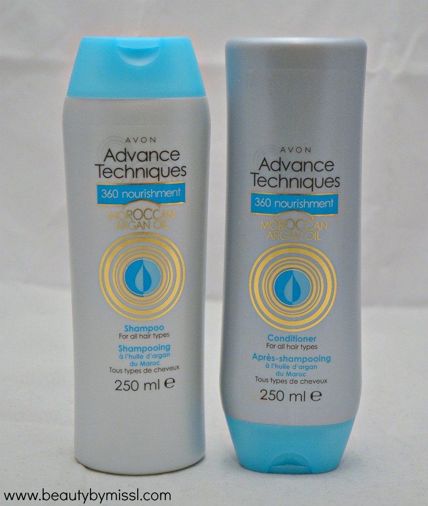 Avon Advance Techniques 360 Nourishment Moroccan Argain Oil shampoo and conditioner review