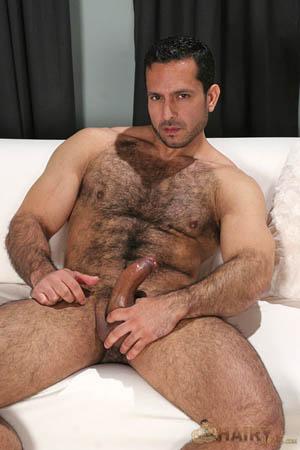 Uomo gay peloso e muscoloso