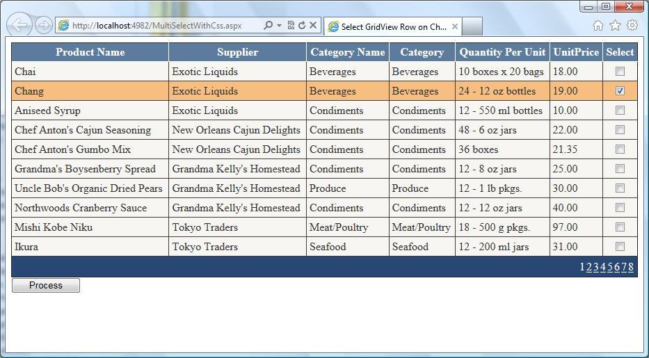 Styling asp. Net gridview using jquery theme switcher widget.