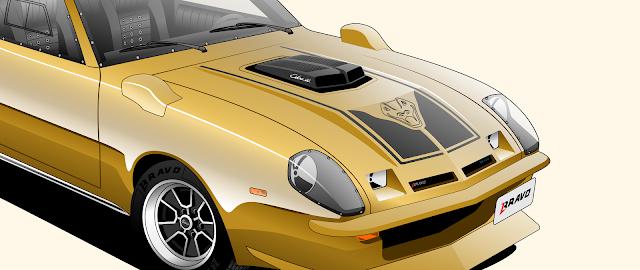 """Imagem mostrando o detalhe do shaker hood do Ford Maverick """"Cascavel"""""""