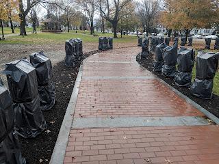 the Veterans Walkway in the rain on Saturday