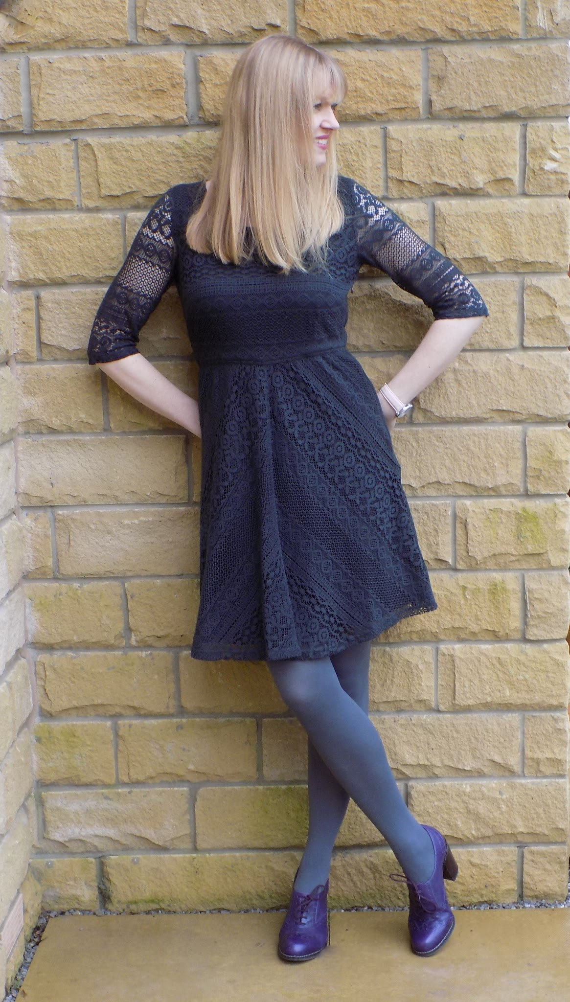 Fat Face grey lace dress with purple brogues